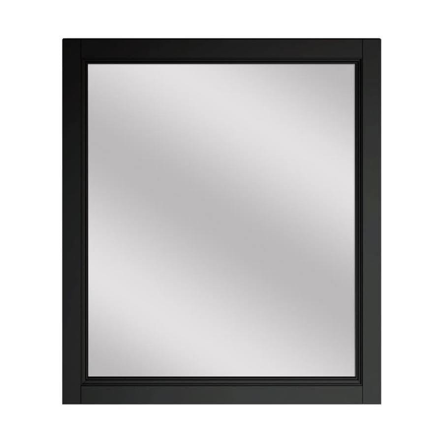 Scott Living Canterbury 28-in x 30-in Black Rectangular Framed Bathroom Mirror