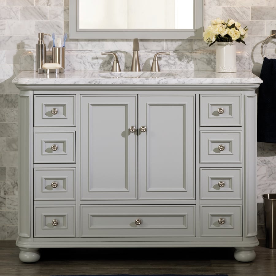 Shop Scott Living Wrightsville Light Gray Single Sink Vanity With - Light gray bathroom cabinets