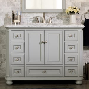 Scott Living Wrightsville 48-in Light Gray Single Sink Bathroom Vanity with  Natural Carrara Marble Top at Lowes.com