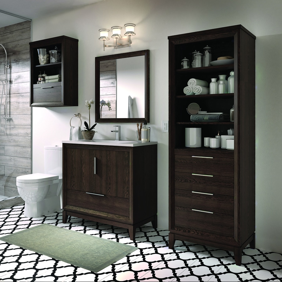 Shop Scott Living Robinson Coffee Oak Single Sink Vanity With White Acrylic Top Common 36 In X