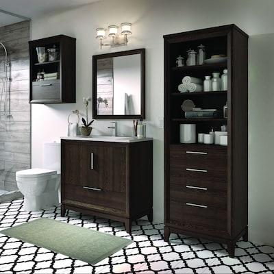 Robinson 36 In Coffee Oak Single Sink Bathroom Vanity With White Acrylic Top