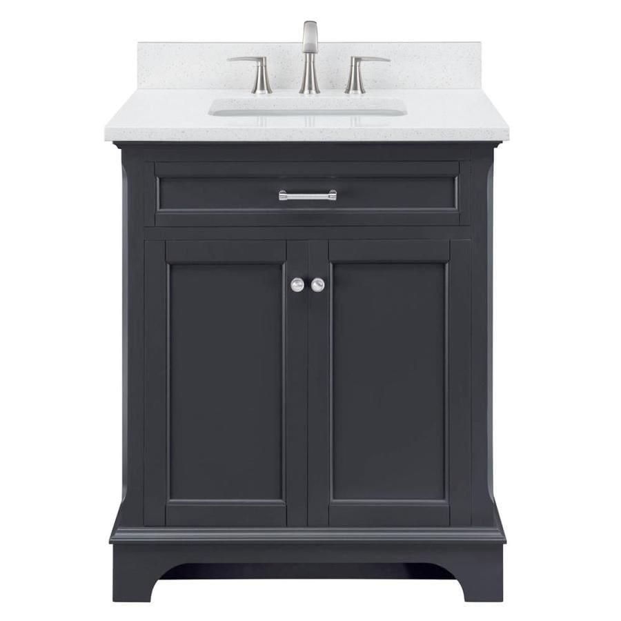 Scott Living Roveland 30 In Dark Gray Single Sink Bathroom Vanity With Terrazzo Engineered Stone Top