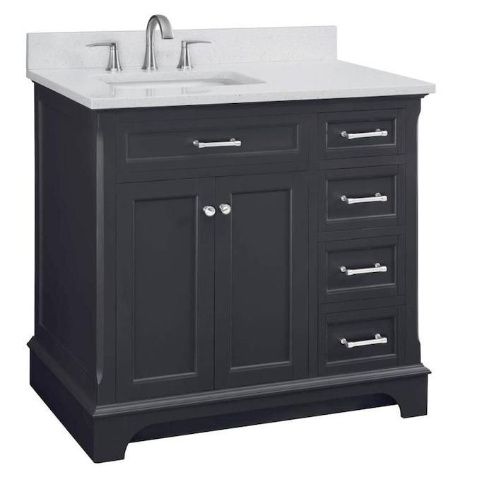 Allen Roth Roveland 36 In Dark Gray Undermount Single Sink Bathroom Vanity With Terrazzo Engineered Stone Top In The Bathroom Vanities With Tops Department At Lowes Com