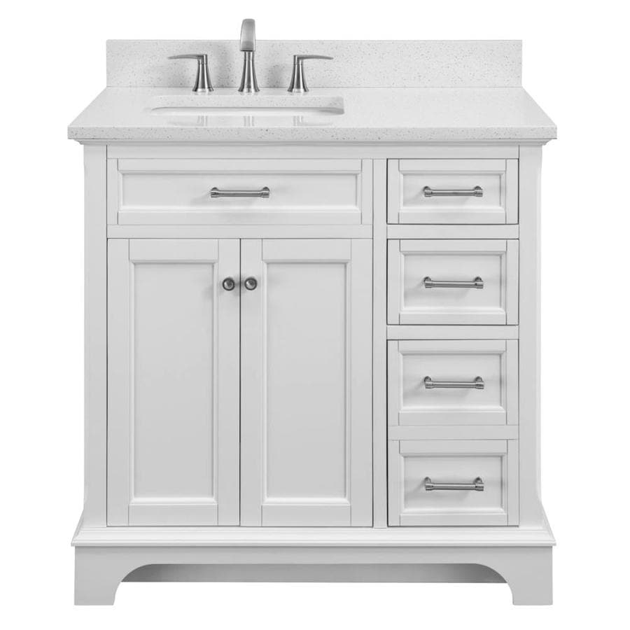 Allen Roth Roveland 36 In White Undermount Single Sink Bathroom Vanity With Terrazzo Engineered Stone Top In The Bathroom Vanities With Tops Department At Lowes Com