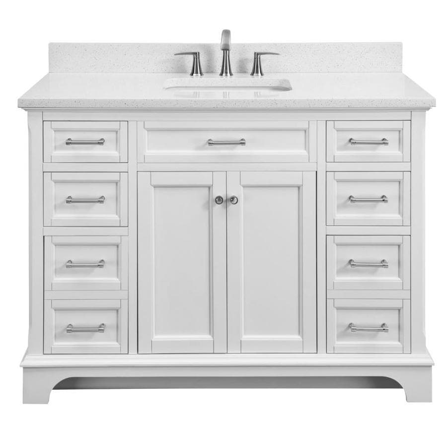 Scott living roveland 48 in white single sink bathroom vanity with terrazzo engineered stone top
