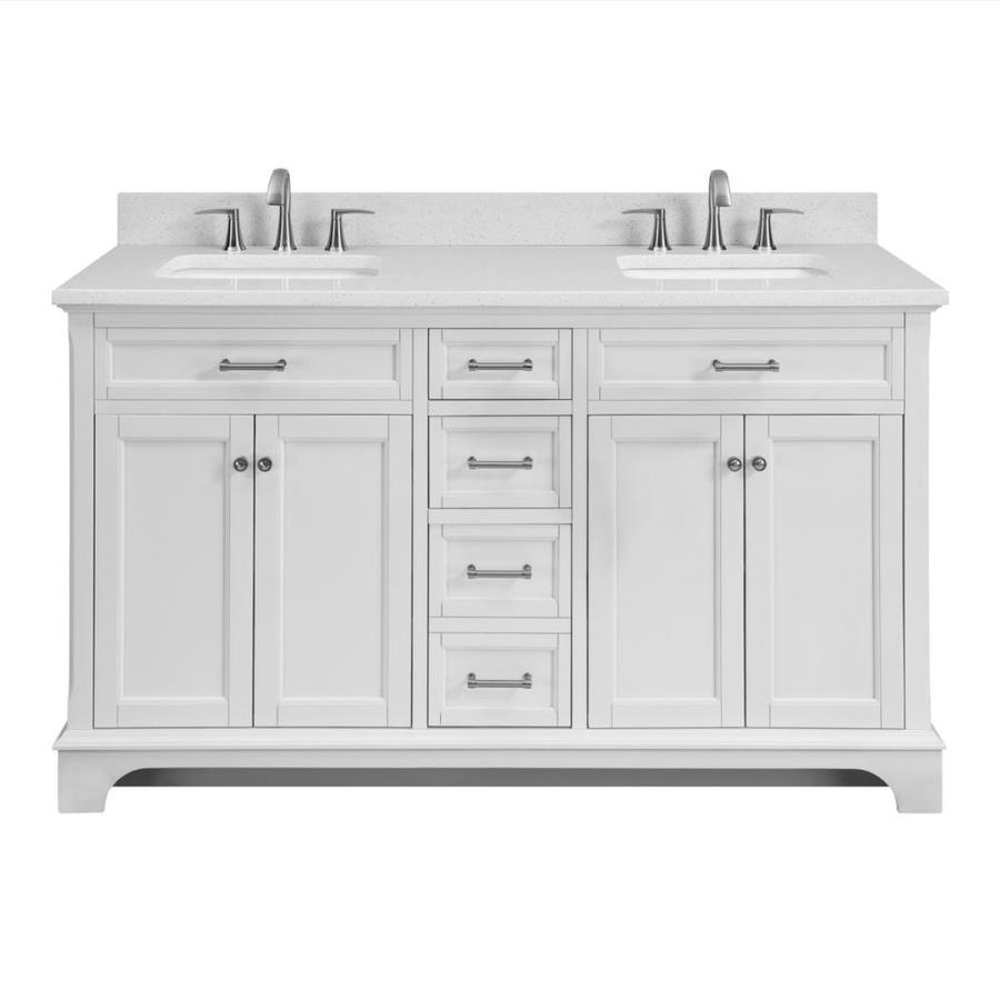 Scott Living Roveland 60 In White Double Sink Bathroom
