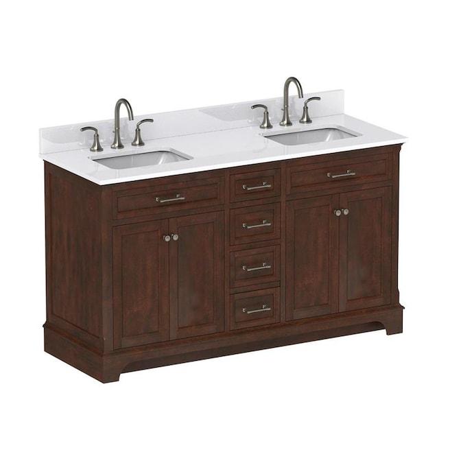 Scott Living Roveland 60-in Mahogany Double Sink Bathroom ...
