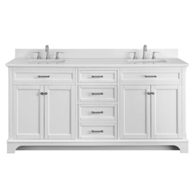 Roveland 72-in White Double Sink Bathroom Vanity with White Engineered  Stone Top