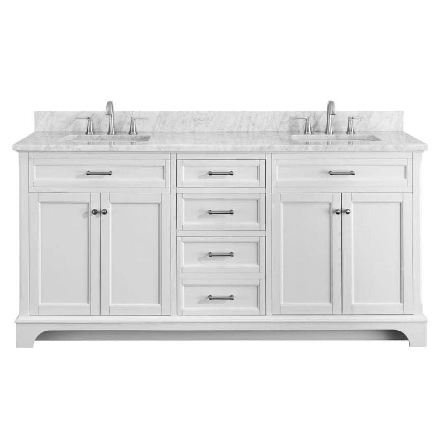 Scott living roveland 72 in white double sink bathroom - White bathroom vanity with marble top ...