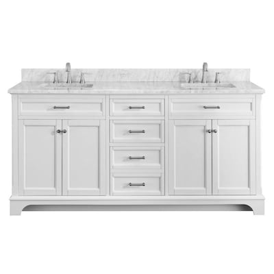 Roveland 72 In White Double Sink Bathroom Vanity With Natural Carrara Marble Top
