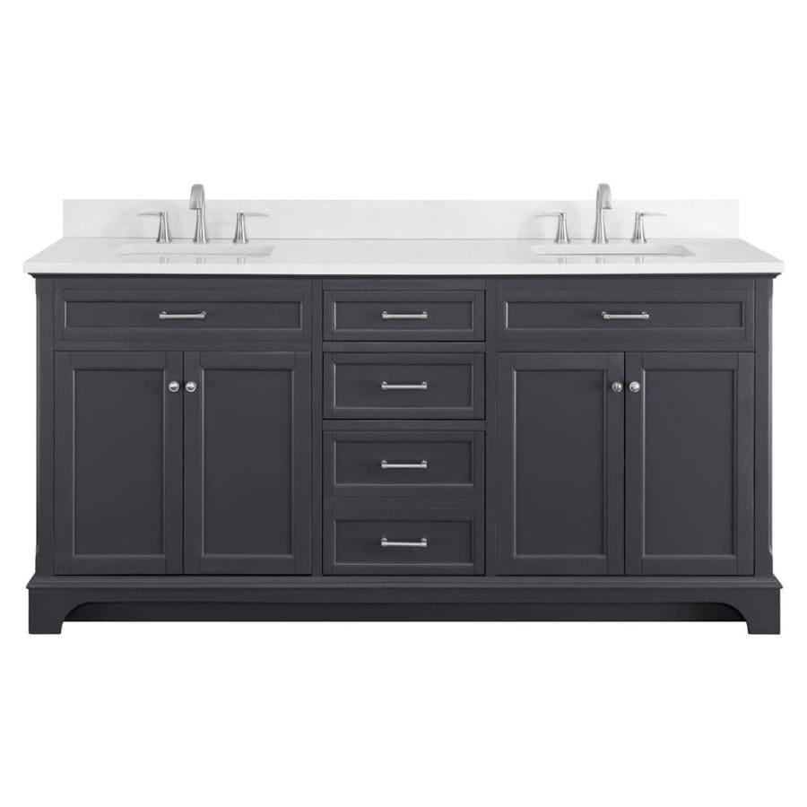 Shop Scott Living Roveland Dark Gray Double Sink Vanity With White Quartz Top Common 72 In X