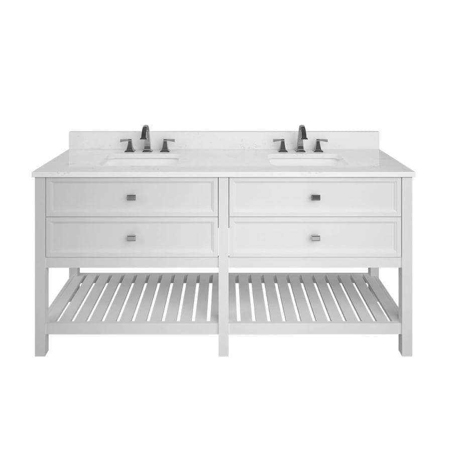 Scott living canterbury 72 in white double sink bathroom vanity with carrara engineered stone top