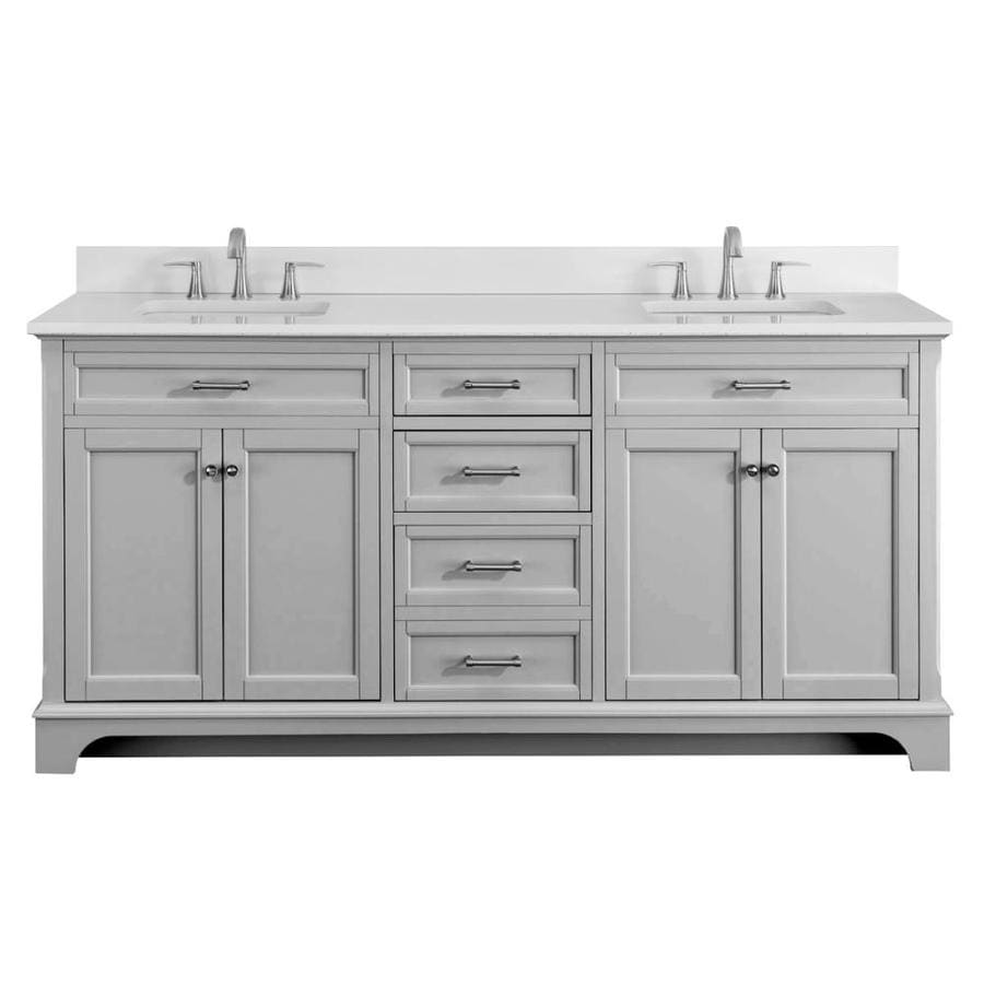 Scott Living Roveland Light Gray Double Sink Vanity With White