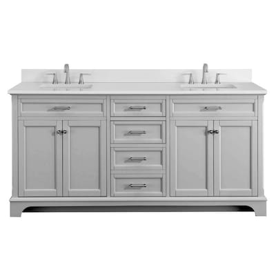 astonishing white bathroom vanity grey tile | Scott Living Roveland 72-in Light Gray Double Sink ...