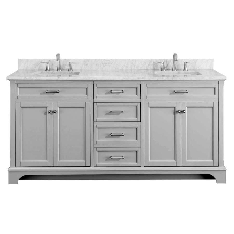 Scott living roveland 72 in light gray double sink - Bathroom vanity double sink marble top ...