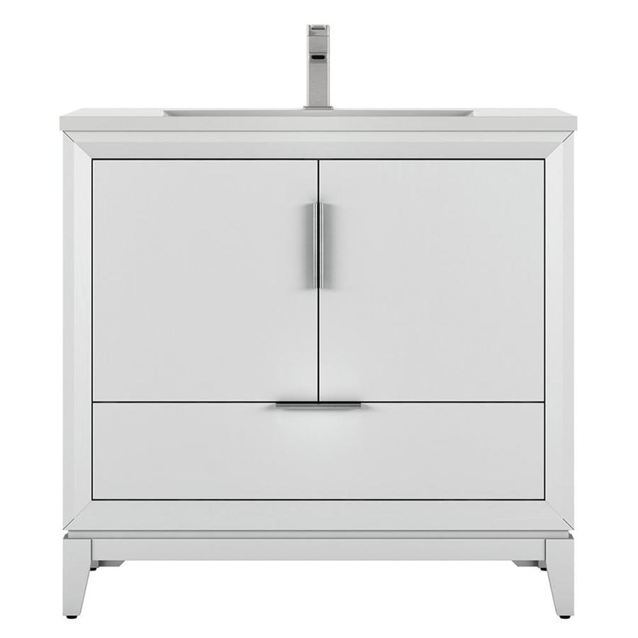 Scott Living Robinson 36 In White Single Sink Bathroom Vanity With White Acrylic Top In The Bathroom Vanities With Tops Department At Lowes Com