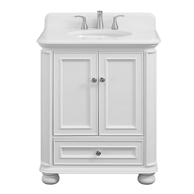 Scott Living Wrightsville 30 In White Single Sink Bathroom Vanity With White Engineered Stone Top In The Bathroom Vanities With Tops Department At Lowes Com