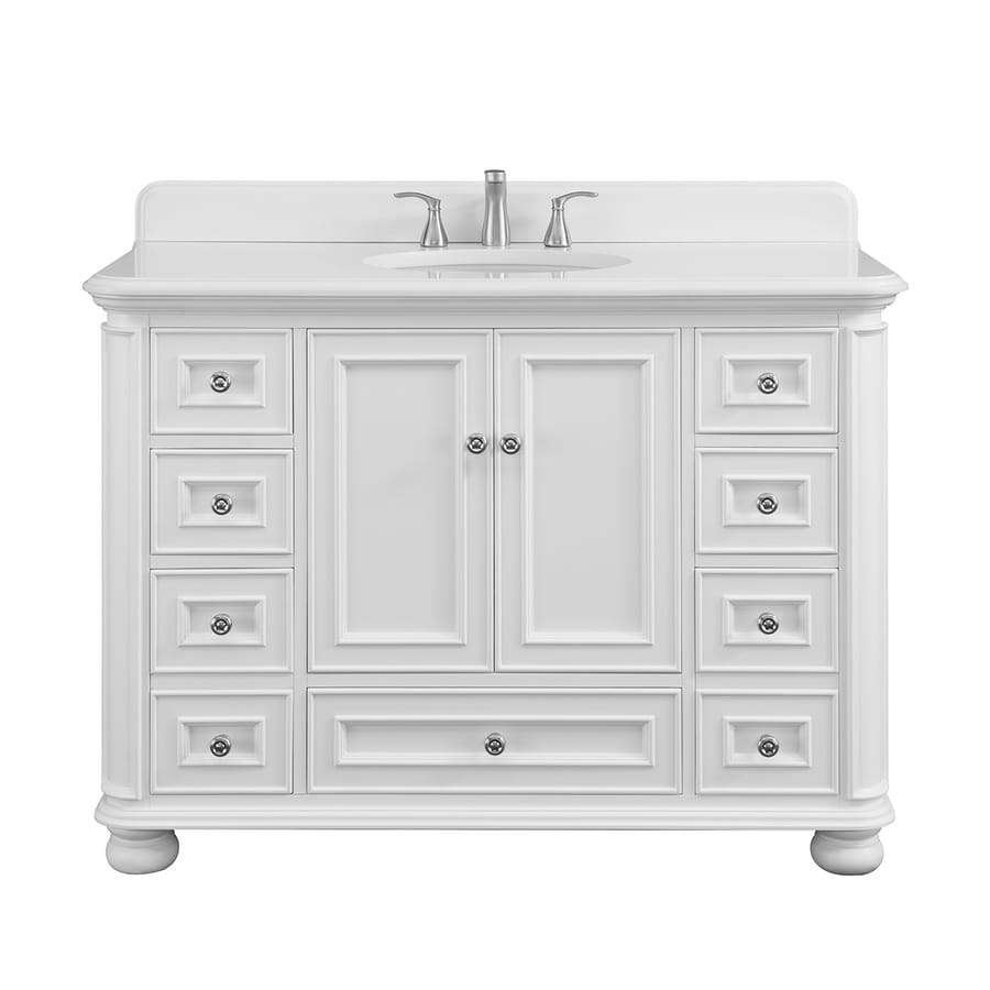 Scott Living Wrightsville 48-in White Single Sink Bathroom ...