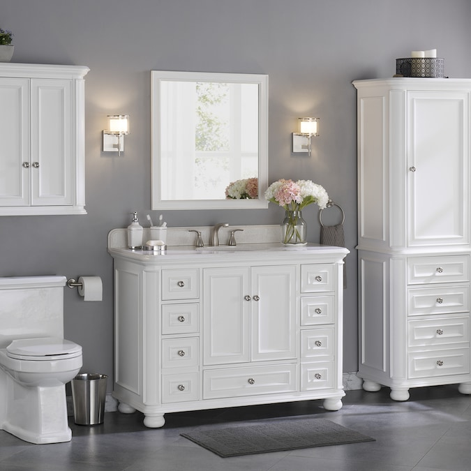 Allen Roth Wrightsville 48 In White Undermount Single Sink Bathroom Vanity With Terrazzo Engineered Stone Top In The Bathroom Vanities With Tops Department At Lowes Com