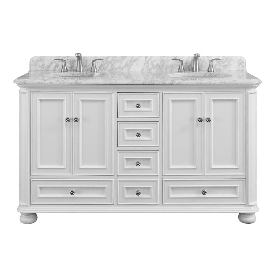 Allen Roth Wrightsville 60 In White Undermount Double Sink Bathroom Vanity With Natural Carrara Marble Top In The Bathroom Vanities With Tops Department At Lowes Com