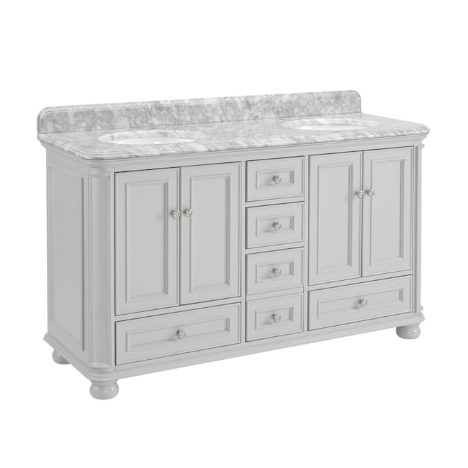 Allen Roth Wrightsville 60 In Light Gray Undermount Double Sink Bathroom Vanity With Natural Carrara Marble Top In The Bathroom Vanities With Tops Department At Lowes Com
