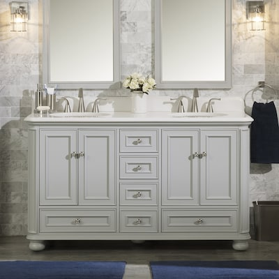 Wrightsville 60 In Light Gray Double Sink Bathroom Vanity With White Quartz Top