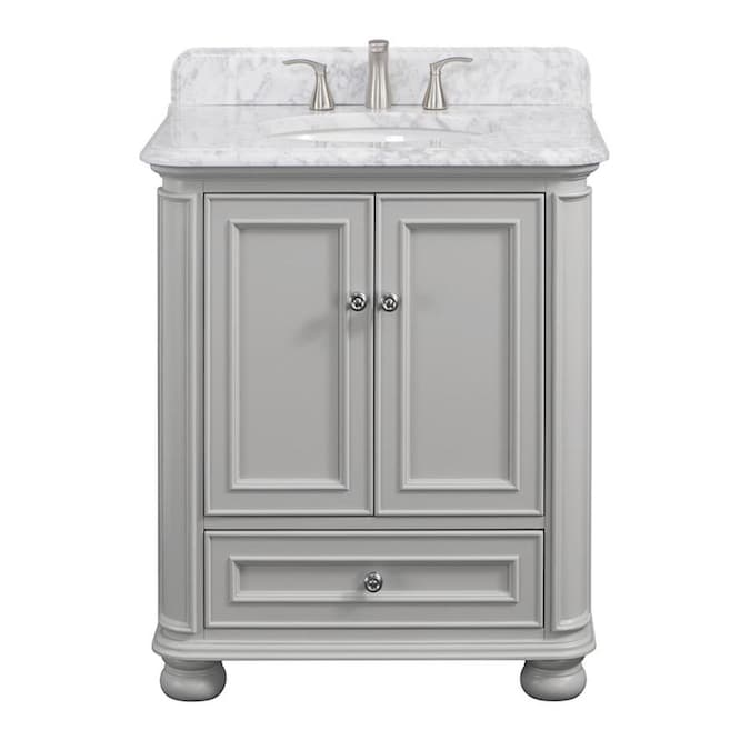 Allen Roth Wrightsville 30 In Light Gray Undermount Single Sink Bathroom Vanity With Natural Carrara Marble Top In The Bathroom Vanities With Tops Department At Lowes Com