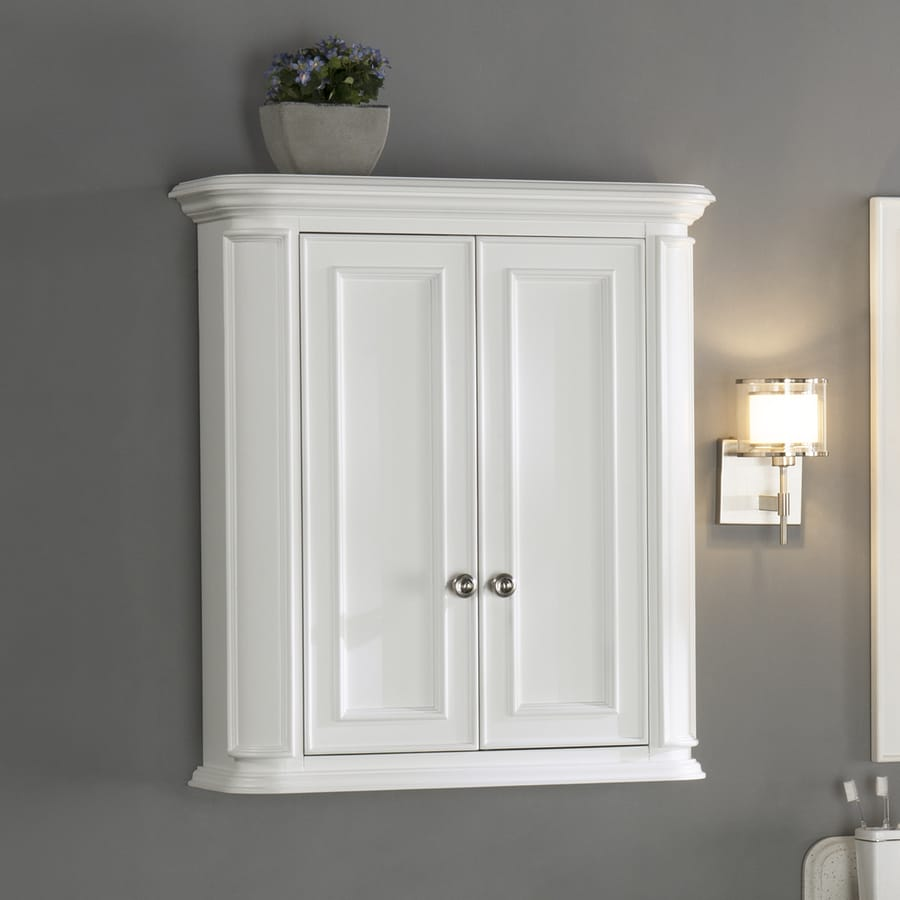 Allen Roth Wrightsville 26 In W X 30 In H X 10 In D White Bathroom Wall Cabinet In The Bathroom Wall Cabinets Department At Lowes Com