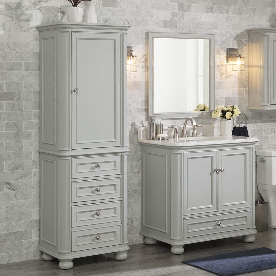 Scott living wrightsville 25 in w x 72 in h x 18 in d light gray poplar freestanding linen cabinet