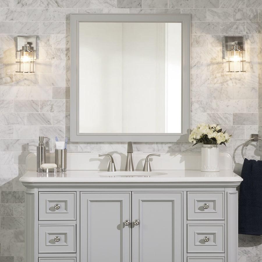 Scott Living Scott Living Wrightsville 28-in Light Gray Rectangular Bathroom Mirror At Lowes.com