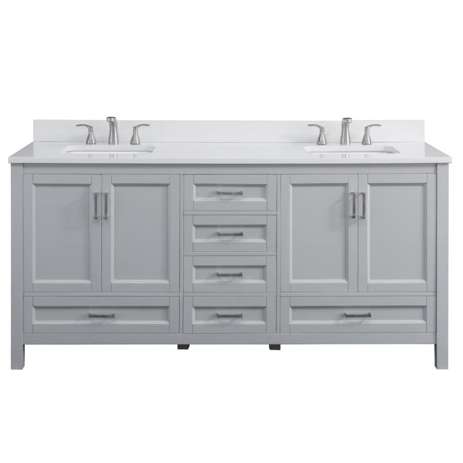 astonishing white bathroom vanity grey tile | Scott Living Durham 72-in Light Gray Double Sink Bathroom ...
