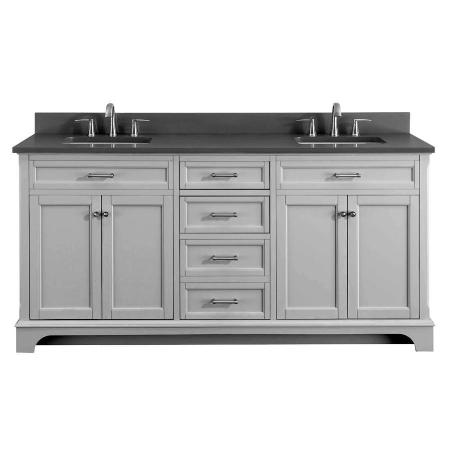 Shop Scott Living Roveland Light Gray Double Sink Vanity With Dark Gray Quartz Top Common 72