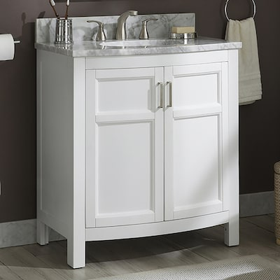 Allen + roth Moravia 30-in White Single Sink Bathroom Vanity