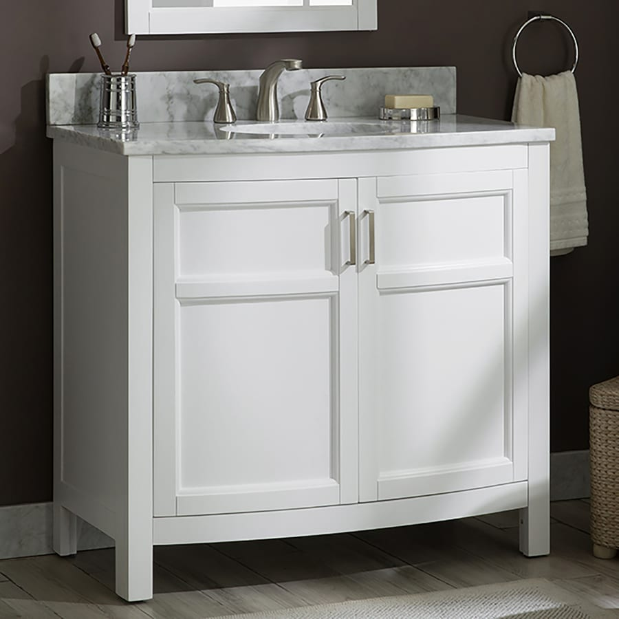 Allen Roth Moravia 36 In White Single Sink Bathroom Vanity With Natural Carrara Marble Top