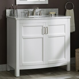 Allen Roth Perrella 37 In Light Gray Undermount Single Sink Bathroom Vanity With Carrera White Natural Marble Top In The Bathroom Vanities With Tops Department At Lowes Com