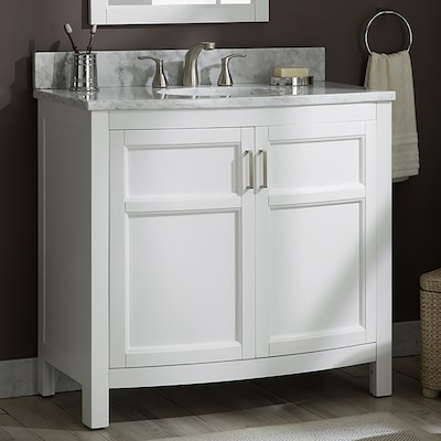 Moravia 36 In White Single Sink Bathroom Vanity With Natural Carrara Marble Top