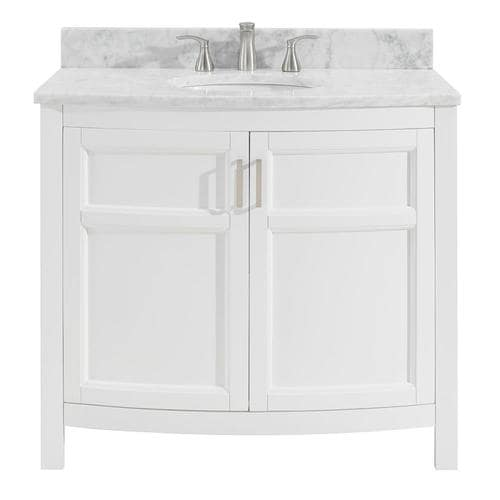 Moravia 36-in White Single Sink Bathroom Vanity with Natural Carrara Marble  Top
