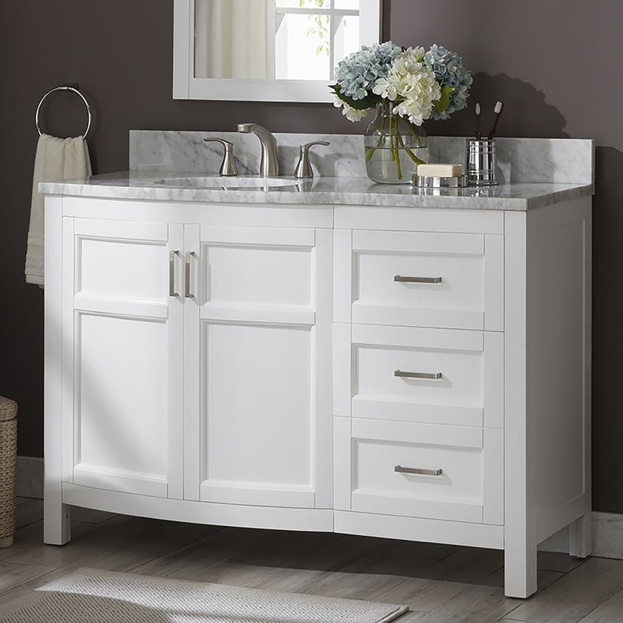 Allen Roth Moravia 48 In White Single Sink Bathroom Vanity With Natural Carrara Marble Top At