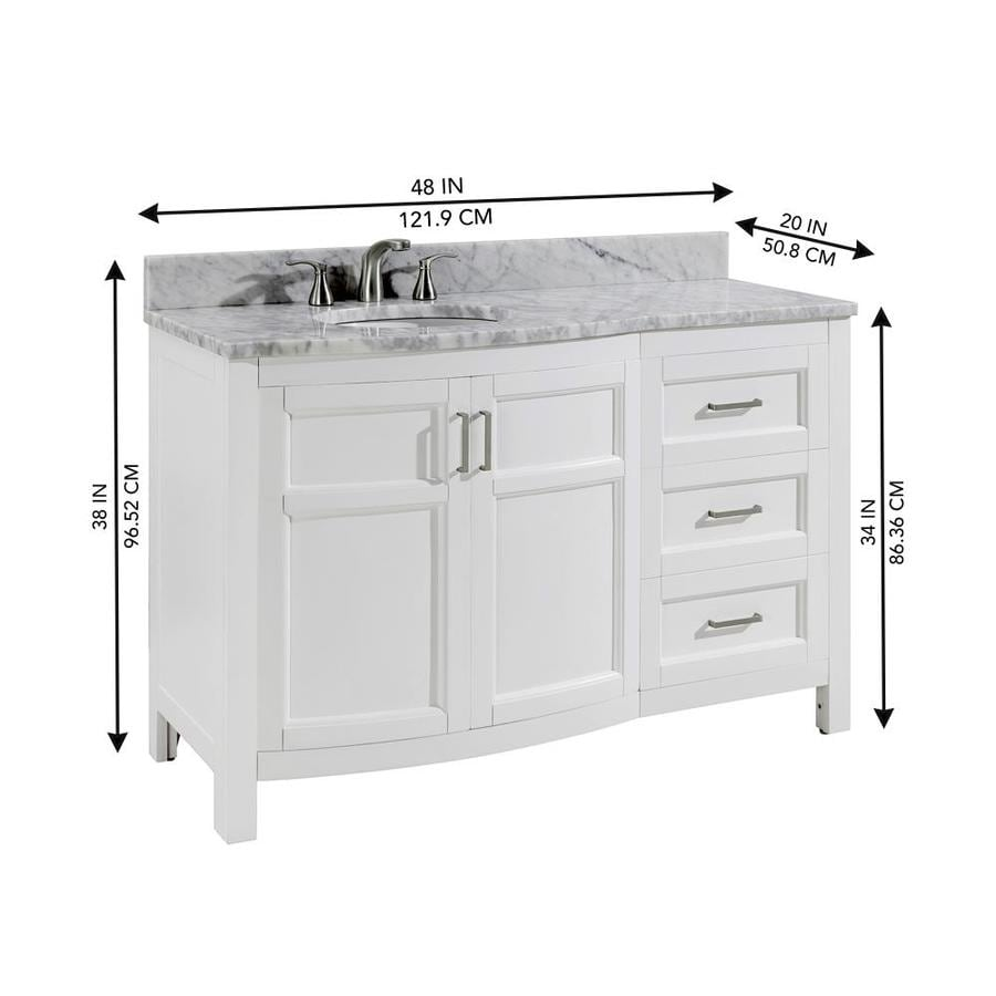 Allen + Roth Moravia 48-in White Undermount Single Sink Bathroom Vanity  With Natural Carrara Marble Top In The Bathroom Vanities With Tops  Department At Lowes.com