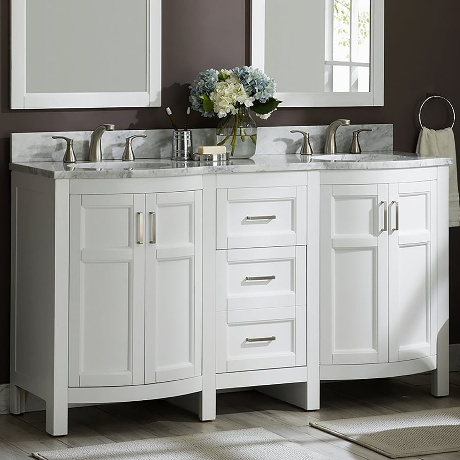 Allen + roth Moravia 60-in White Double Sink Bathroom ...