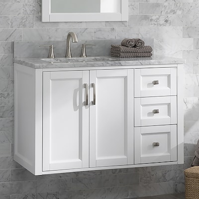 Floating 36 In White Single Sink Bathroom Vanity With Natural Carrara Marble Top