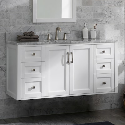 Allen Roth Floating 48 In White Single Sink Bathroom