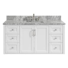 allen + roth White Vanity with Natural Italian Carrara Natural Marble Top (Common: 48-in x 20.5-in)