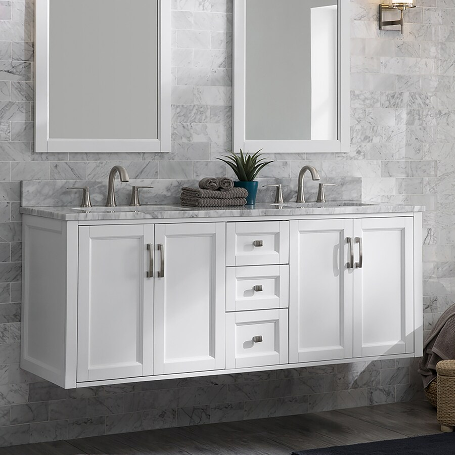 225 & Allen + roth Floating 60-in White Double Sink Bathroom ...