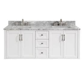 Bathroom double sink cabinets Floating Allen Roth Floating 60in White Double Sink Bathroom Vanity With Natural Carrara Marble Nemogorg Bathroom Vanities With Tops At Lowescom