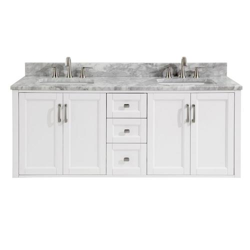 Allen Roth Floating 60 In White Double Sink Bathroom Vanity With
