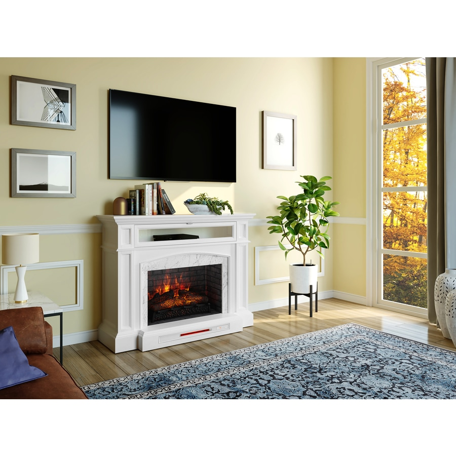 Allen Roth 52 5 In W White Infrared Quartz Electric Fireplace In The Electric Fireplaces Department At Lowes Com