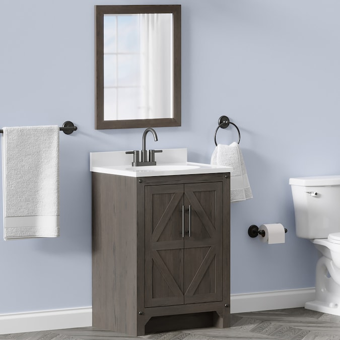 Style Selections 24 In Weathered Brown Single Sink Bathroom Vanity With White Acrylic Top Mirror Included In The Bathroom Vanities With Tops Department At Lowes Com