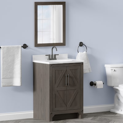 Style Selections 24-in Weathered Brown Single Sink Bathroom Vanity with White Acrylic Top (Mirror Included)