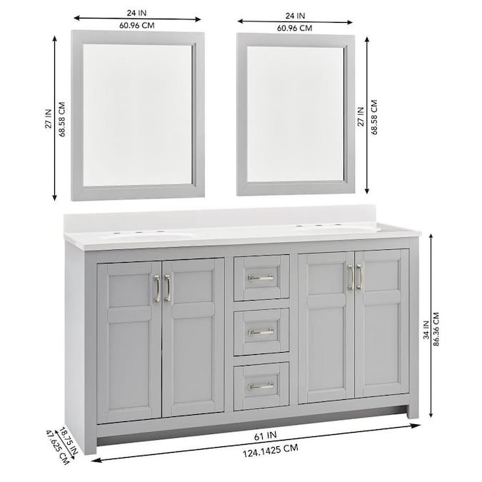 Style Selections 61 In Light Gray Double Sink Bathroom Vanity With White Acrylic Top Mirror Included In The Bathroom Vanities With Tops Department At Lowes Com